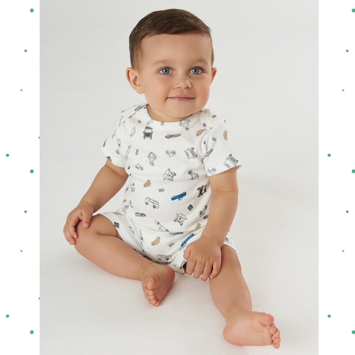 Macacão Romper Bebê Menino Up Baby em Suedine Off White