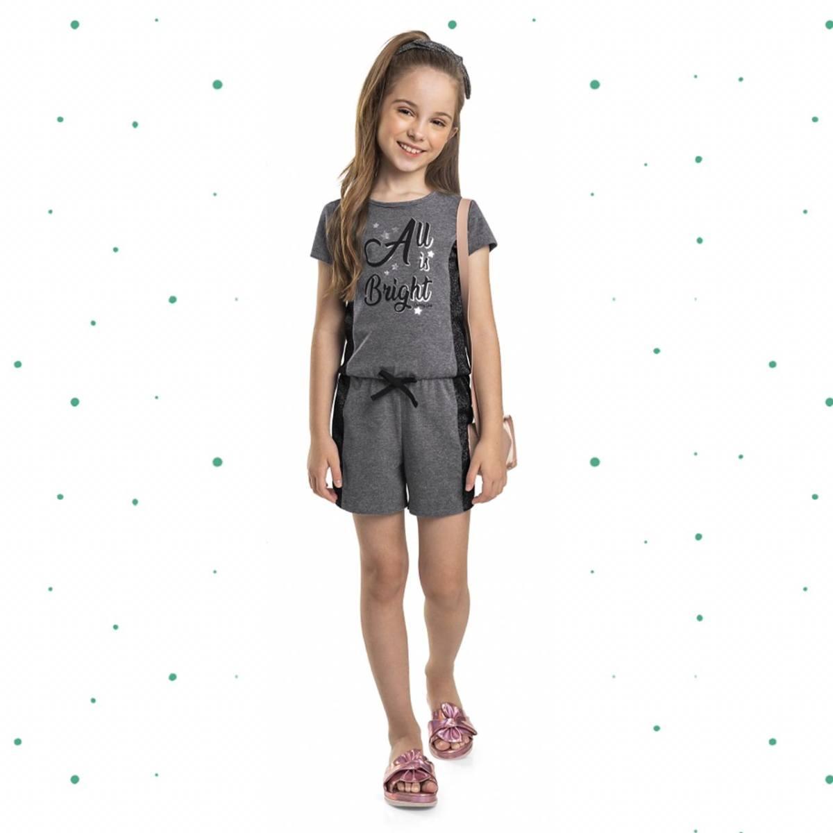 Macaquinho Infantil Quimby em Cotton com Recorte em Moletinho Metalizado