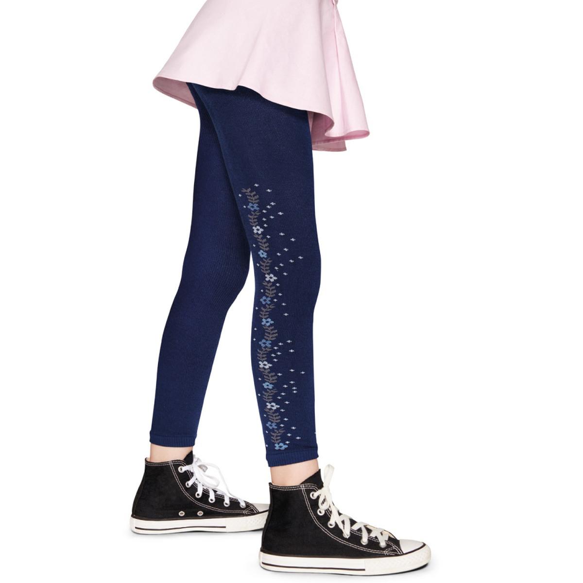 Meia Calça Legging Decorada - Azul Marinho