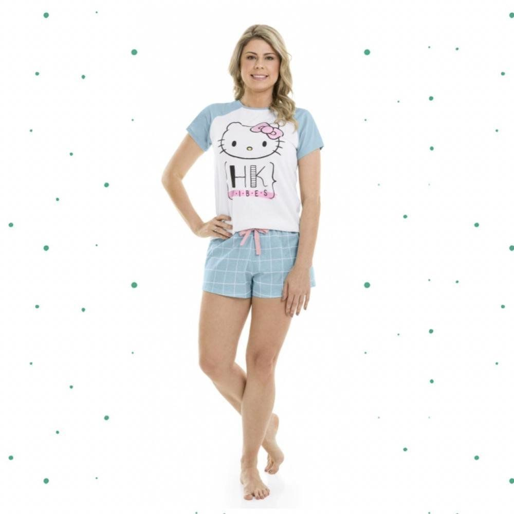 Pijama Adulto Feminino Hello Kitty Blusa e Shorts em Algodão na Cor Branco