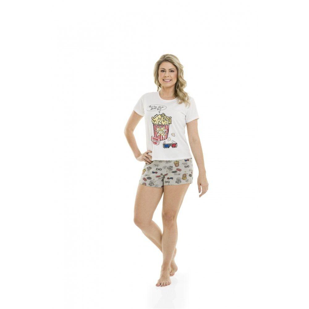 Pijama Adulto Feminino Quimby Blusa e Shorts em 100% Algodão - Linha Família
