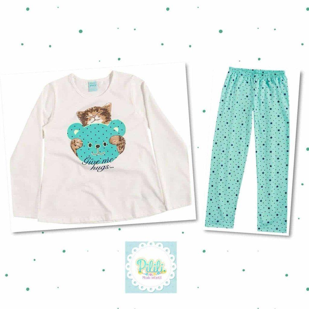 Pijama Feminino Kyly 100% Algodão Gato Verde