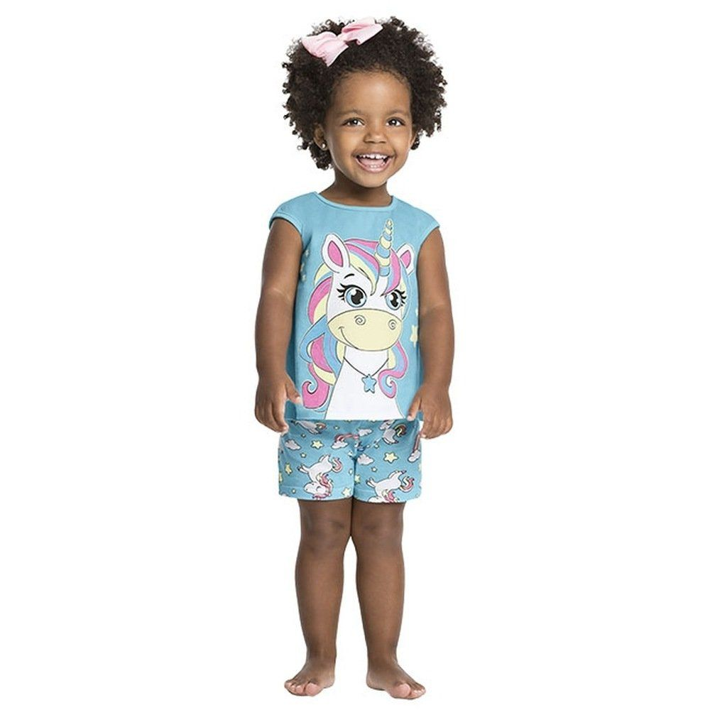 Pijama Feminino Kyly 100% Algodão Unicórnio