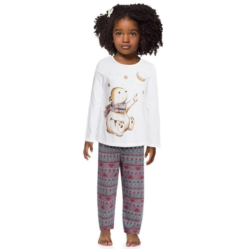 Pijama Feminino Kyly 100% Algodão Ursinho
