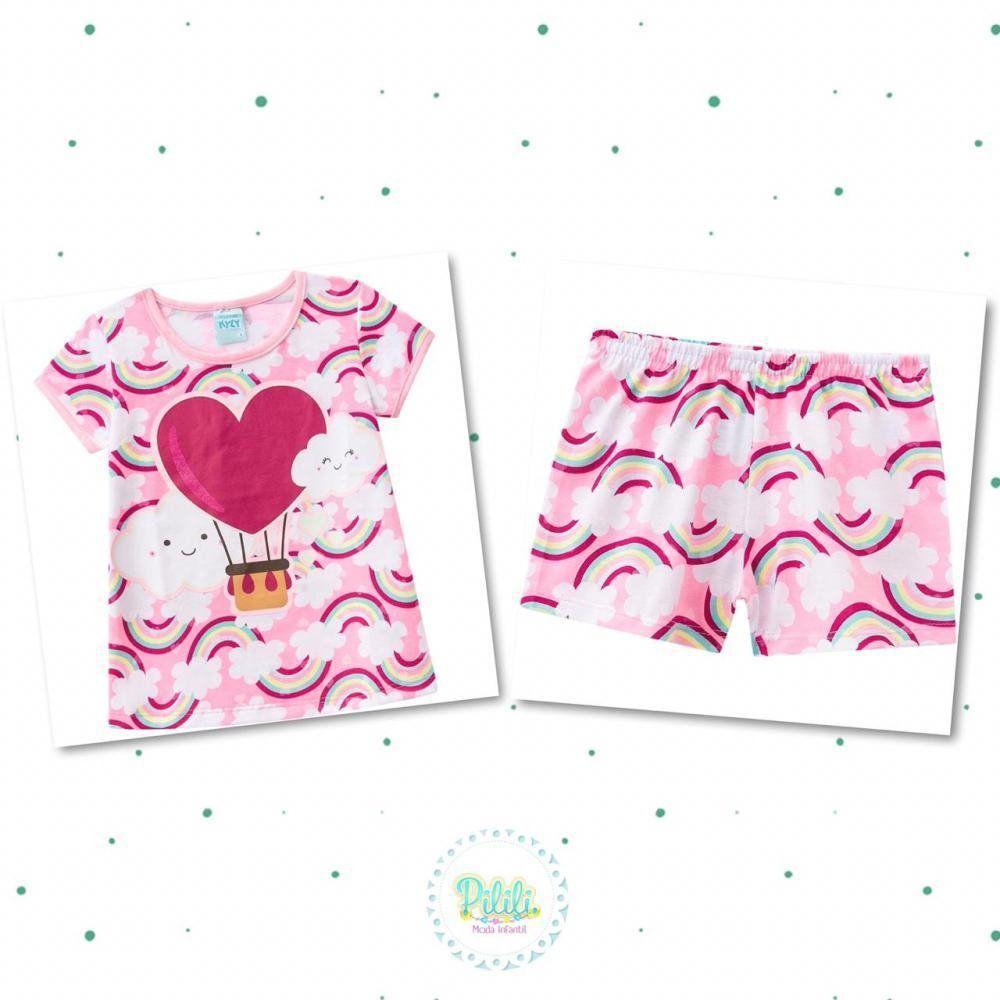 Pijama Infantil Feminino Kyly Blusa e Shorts em 100% Algodão na Cor Rosa Chiclete