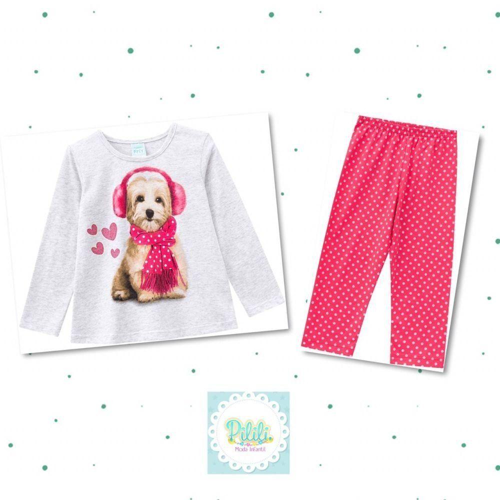 Pijama Infantil Feminino KylyBlusa e Calça emMeia Malha Brilha no Escuro Mescla