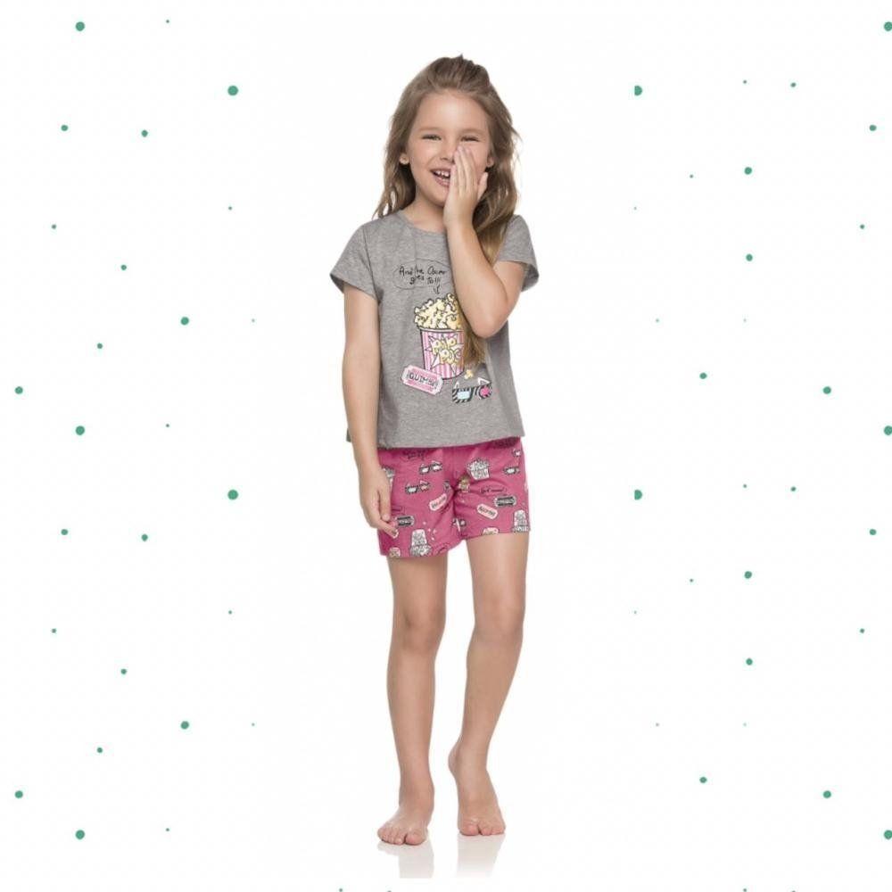Pijama Infantil Feminino Quimby Blusa e Shorts em 100% Algodão na Cor Mescla Cinza