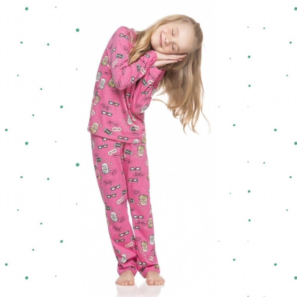Pijama Infantil Feminino Quimby Camiseta e Calça em 100% Algodão na cor Rosa