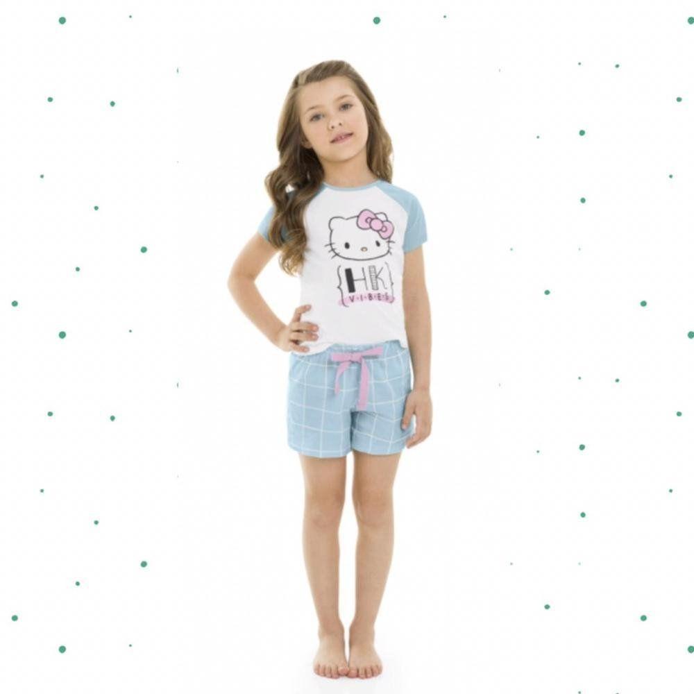 Pijama Infantil Hello Kitty Blusa e Shorts em Algodão na Cor Branco