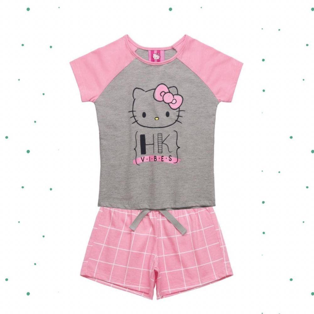 Pijama Infantil Hello Kitty Blusa e Shorts em Algodão na Cor Mescla