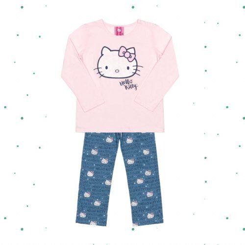 Pijama Infantil Hello Kitty Manga Longa Mãe e Filha