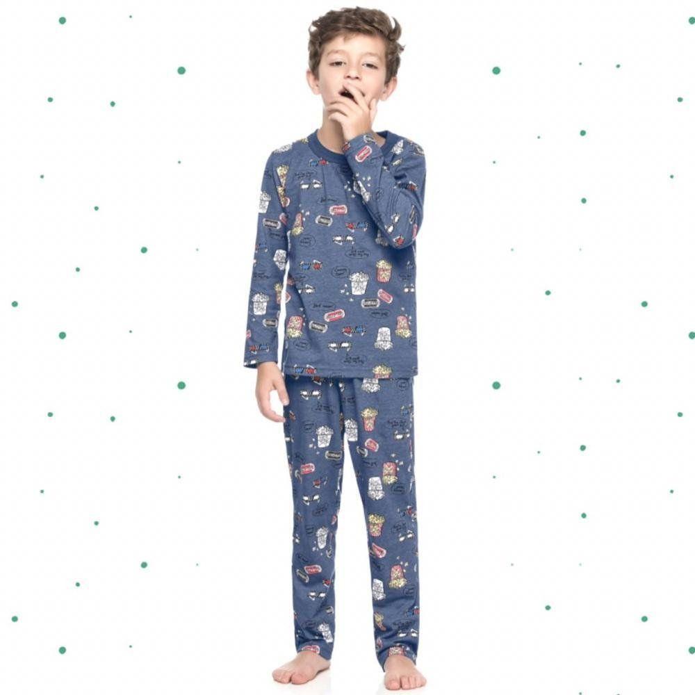 Pijama Infantil Masculino Quimby Camiseta e Calça em 100% Algodão na Cor Azul