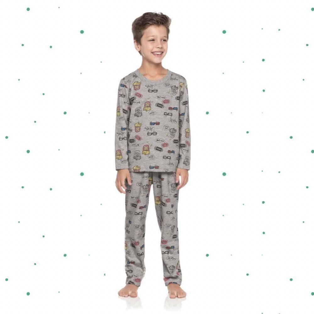 Pijama Infantil Masculino Quimby Camiseta e Calça em 100% Algodão na Cor Mescla