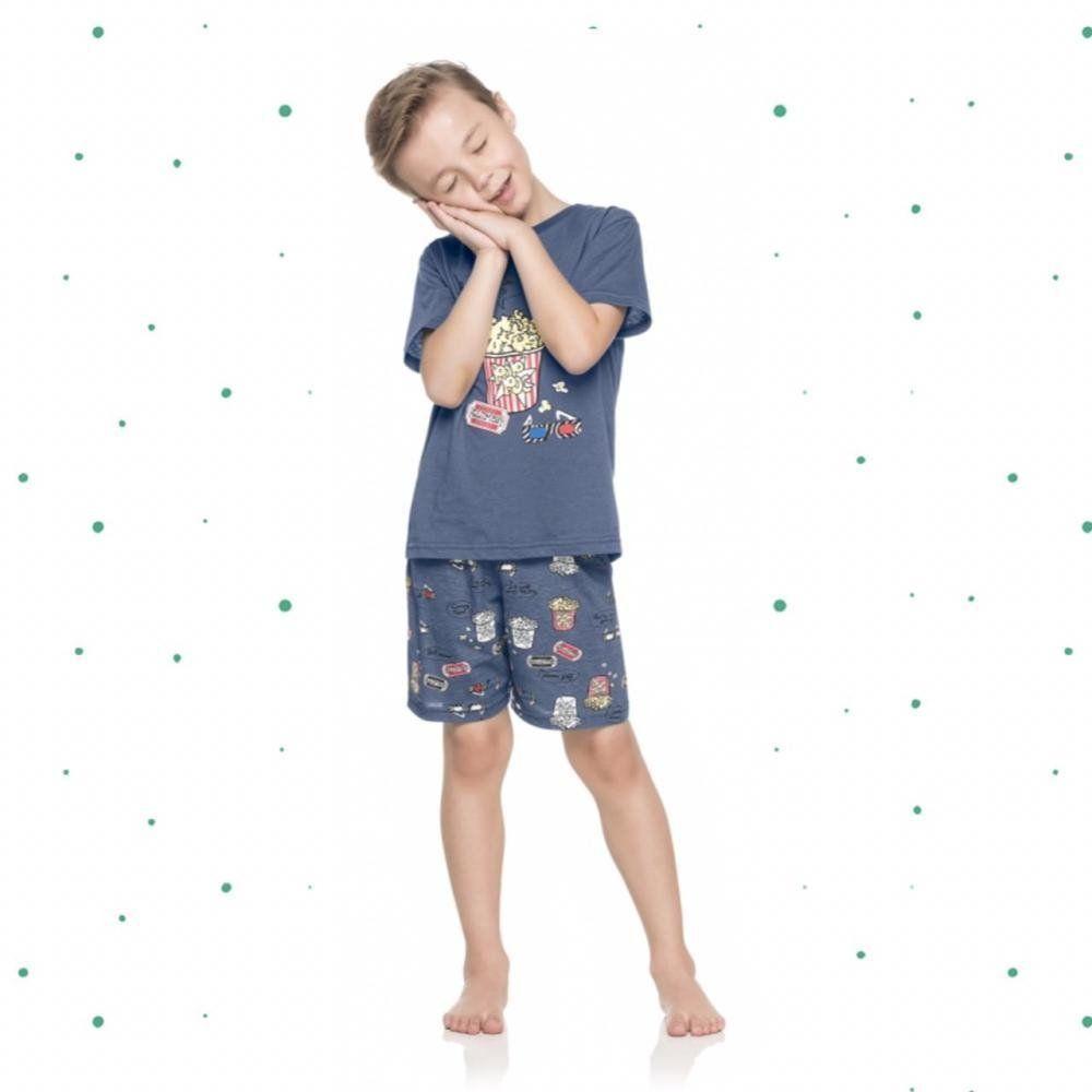 Pijama Infantil Masculino Quimby Camiseta e Shorts em 100% Algodão - Pai e Filho