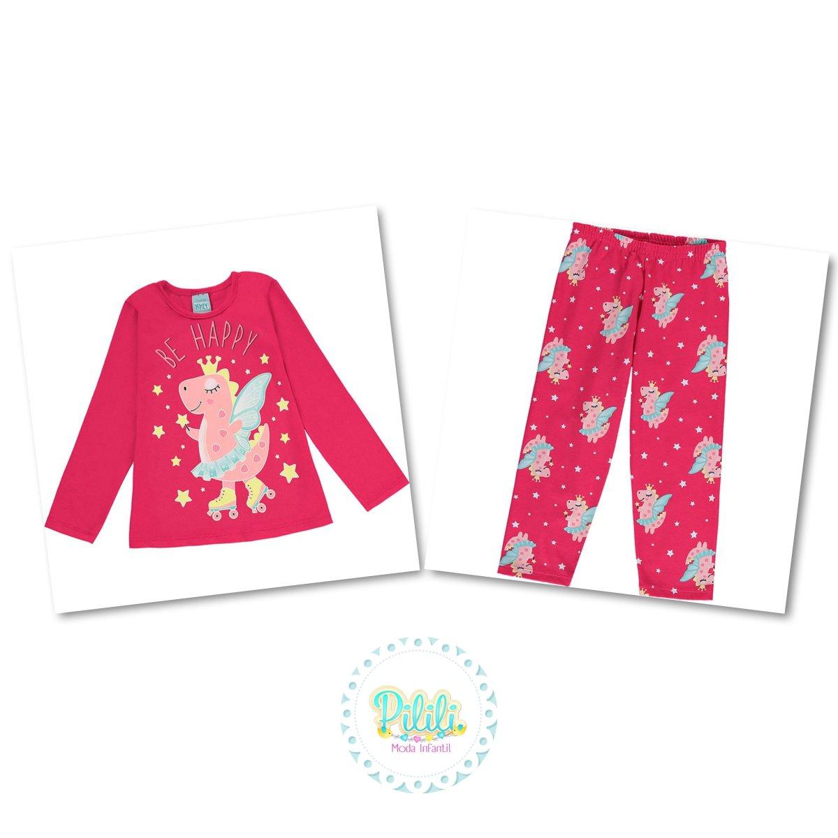 Pijama Menina Kyly Algodão Brilha no Escuro