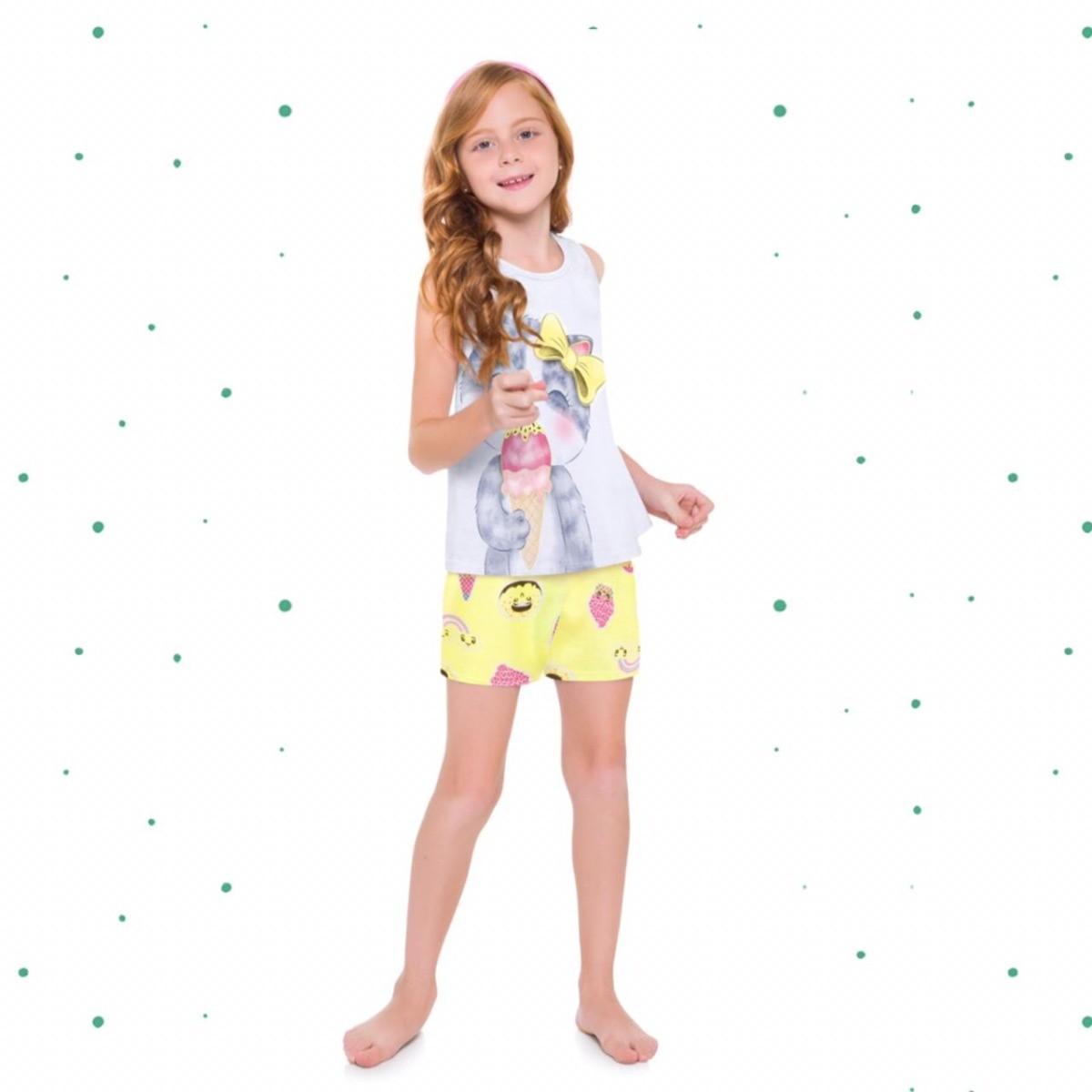 Pijama Menina Kyly Algodão Brilha no Escuro cor Branco