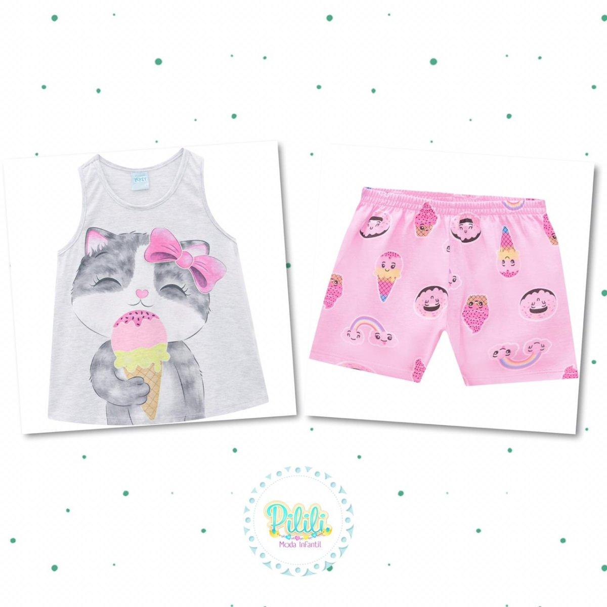Pijama Menina Kyly Algodão Brilha no Escuro cor Mescla White