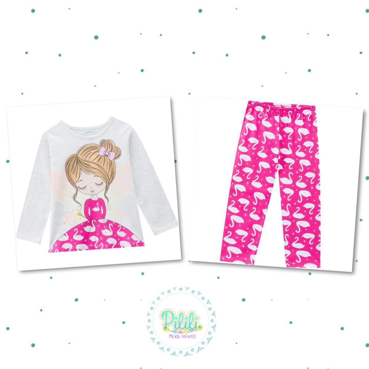 Pijama Menina Kyly Blusa e Calça em Algodão Brilha no Escuro