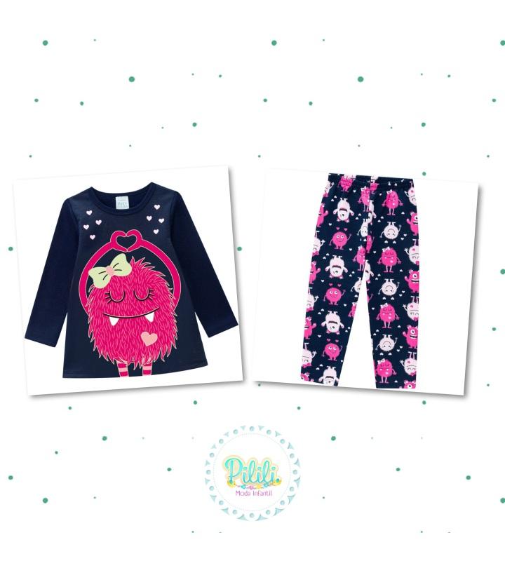 Pijama Menina Kyly Blusa e Calça em Moletom Brilha no Escuro