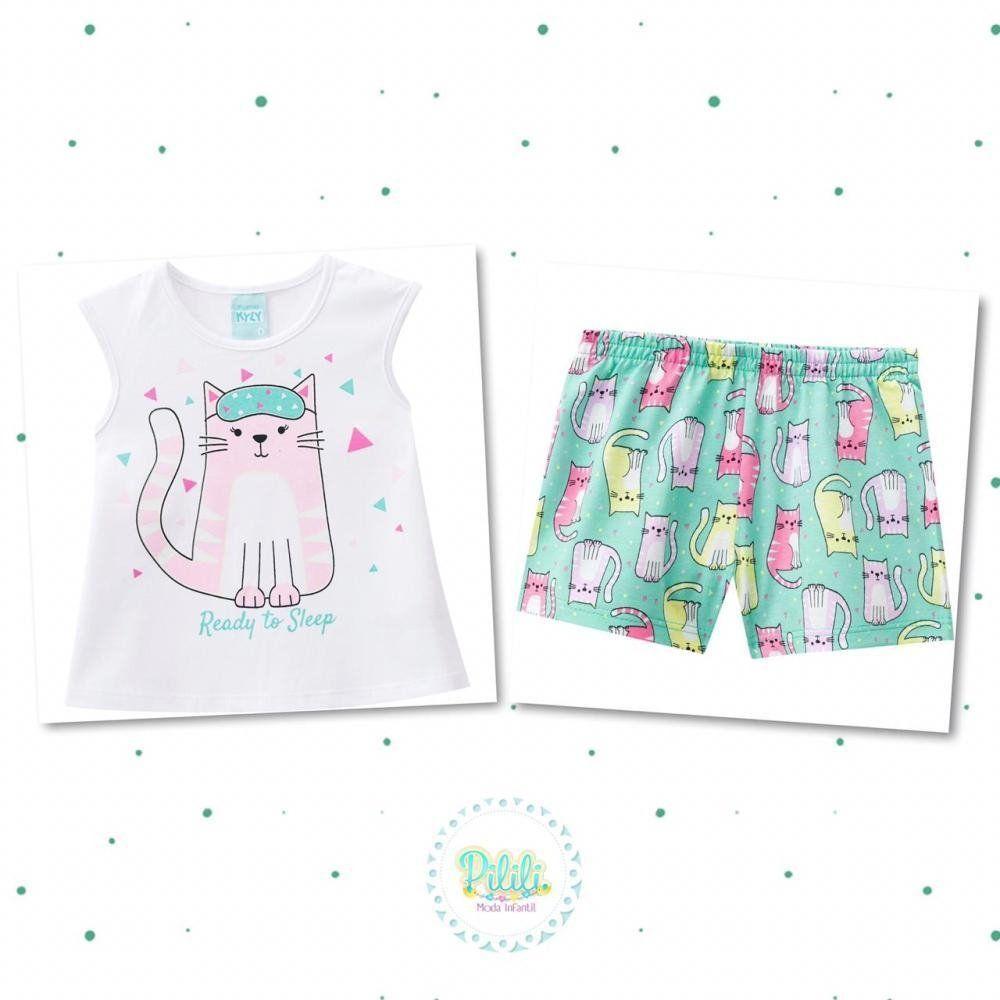 Pijama Menina Kyly Blusinha e Short em Algodão Branco
