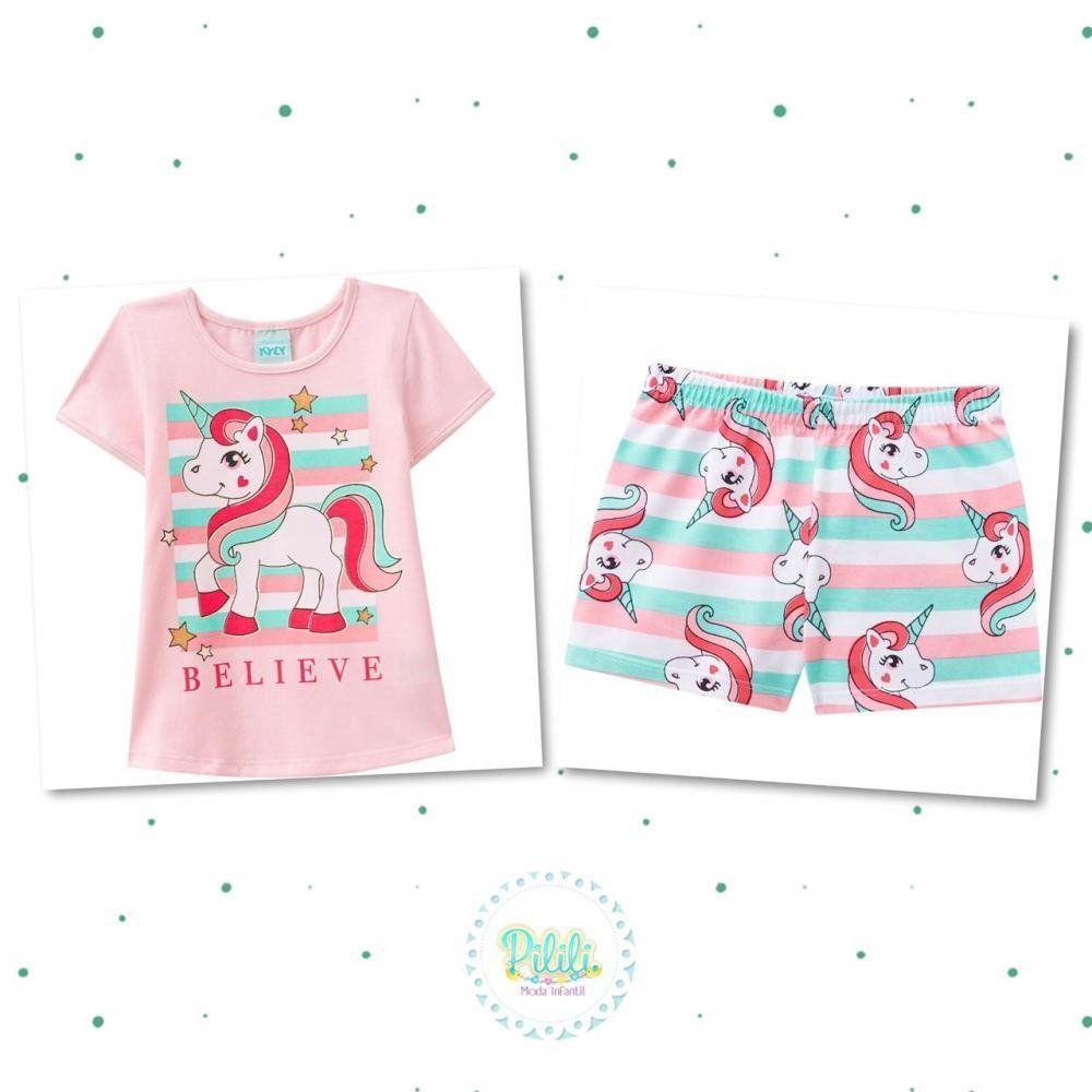 Pijama Menina Kyly Blusinha e Short em Algodão na cor Rosa