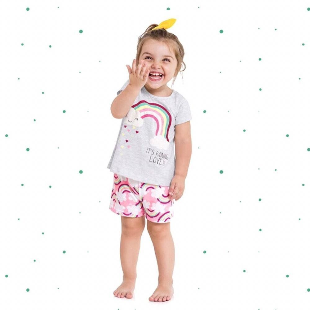 Pijama Menina Kyly Blusinha Estampada e Short em Algodão Mescla