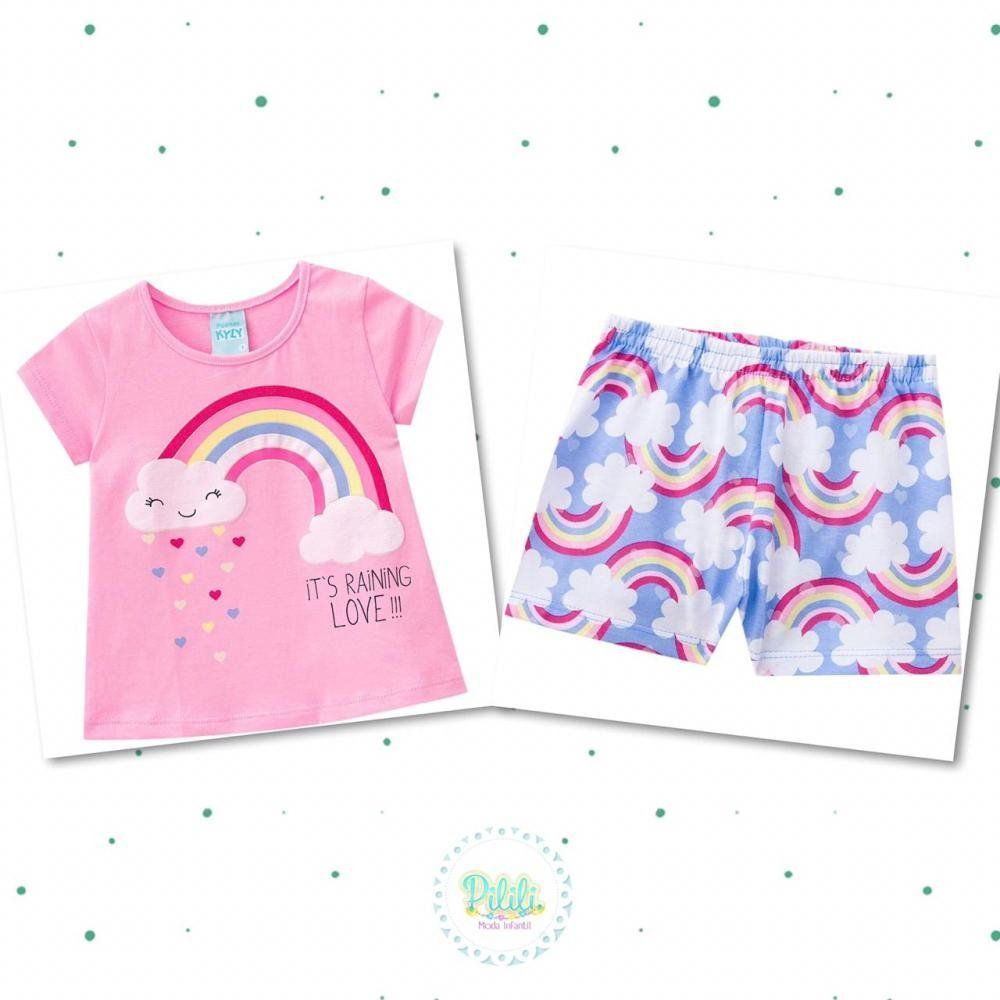 Pijama Menina Kyly Blusinha Estampada e Short em Algodão Rosa