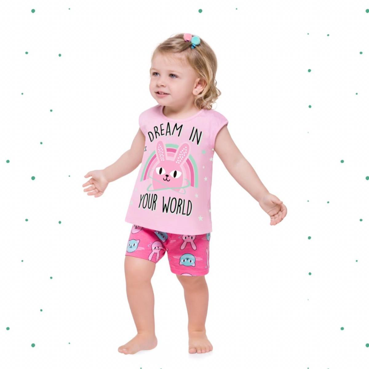 Pijama Menina Kyly Camiseta e Short em Algodão Brilha no Escuro