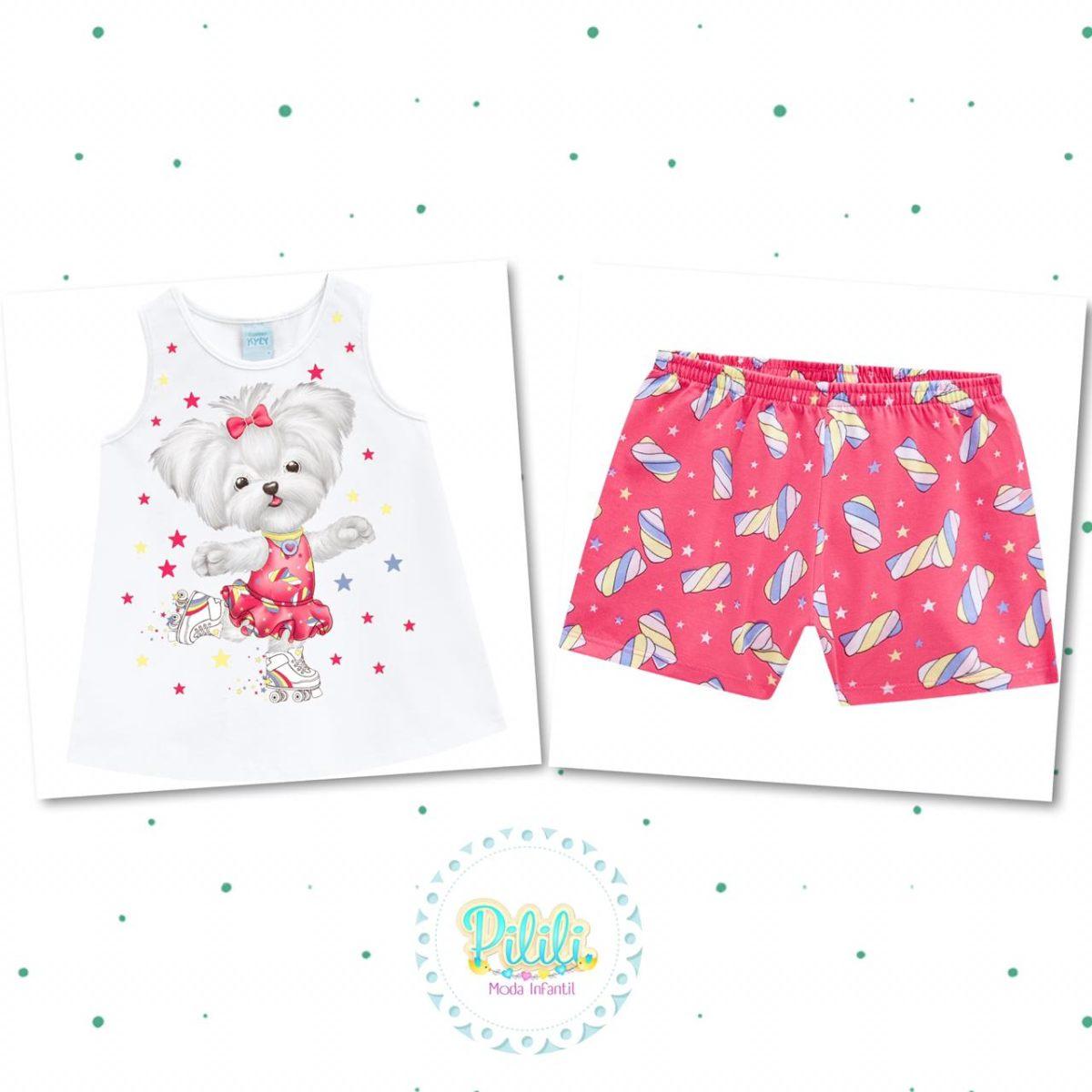 Pijama Menina Kyly Camiseta Short Algodão Brilha no Escuro