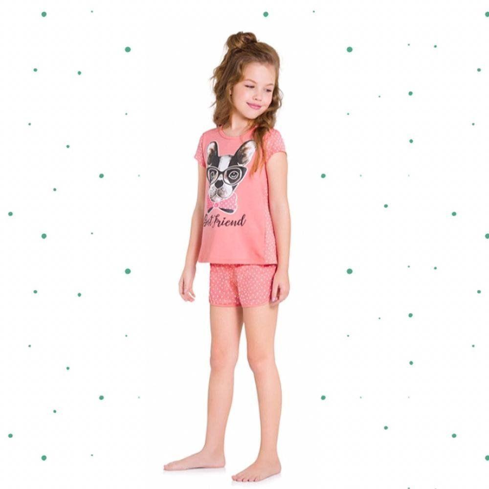 Pijama Menina Kyly em 100% Algodão com Estampa que Brilha no Escuro e Proteção Anti Mosquito
