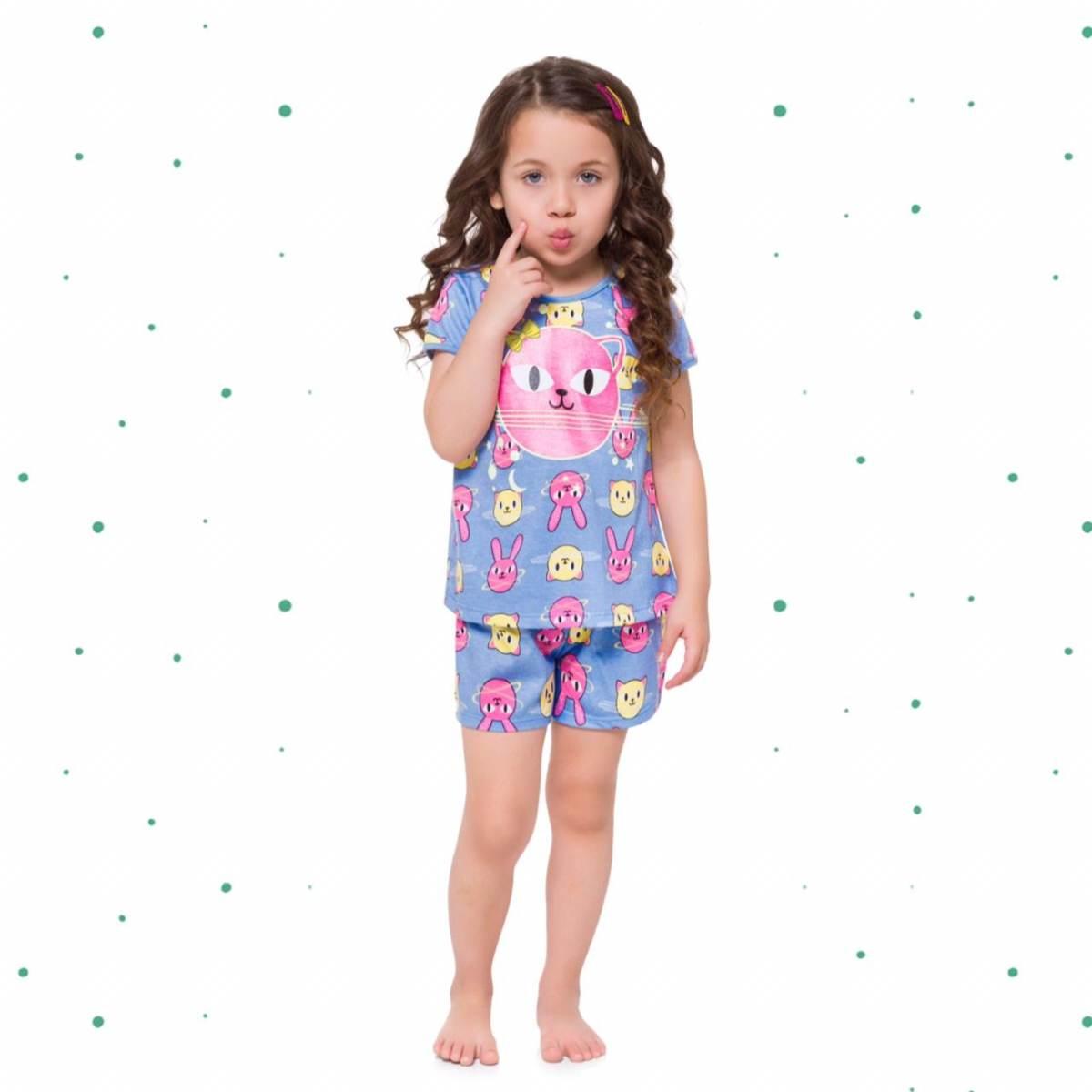 Pijama Menina Kyly em Algodão Brilha no Escuro
