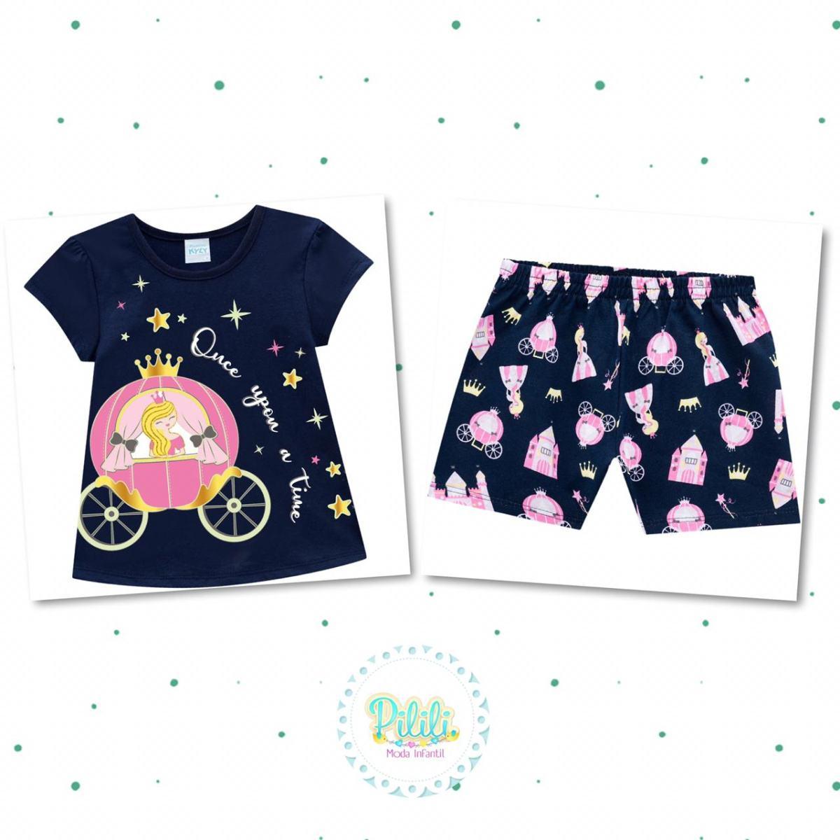 Pijama Menina Kyly em Algodão Brilha no Escuro Azul Marinho