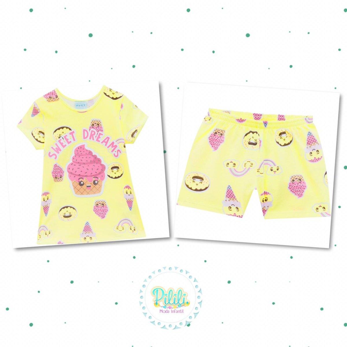 Pijama Menina Kyly em Algodão Brilha no Escuro cor Amarelo