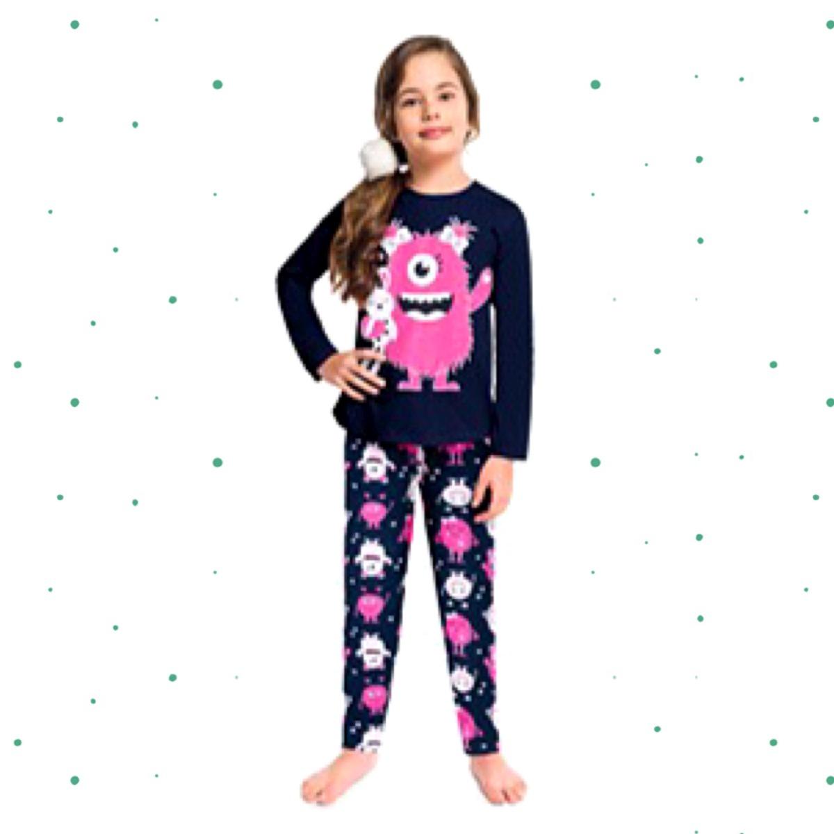 Pijama Menina Kyly em Algodão Brilha no Escuro cor Marinho