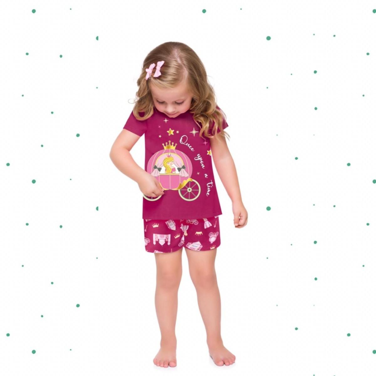 Pijama Menina Kyly em Algodão Brilha no Escuro cor Pink
