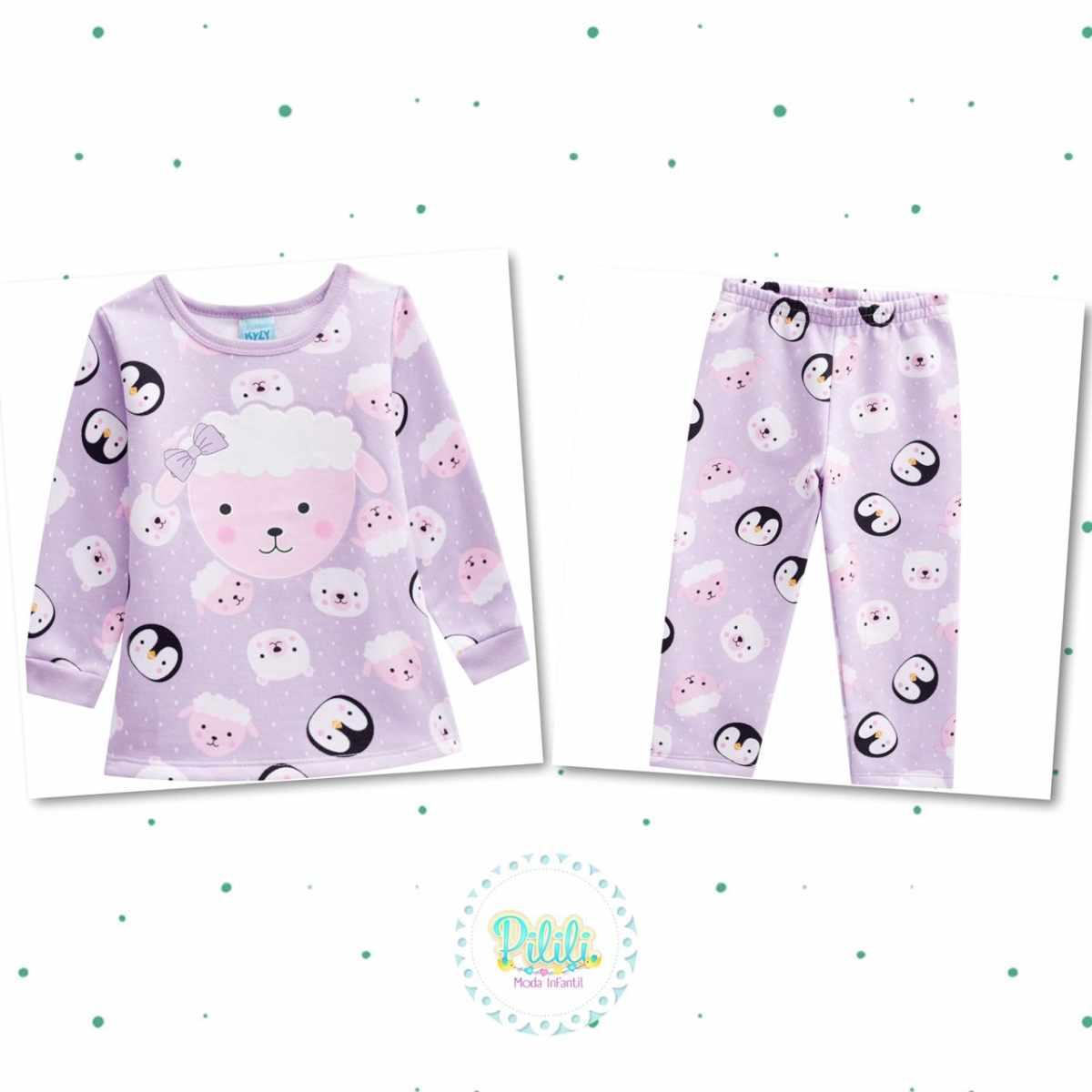 Pijama Menina Kyly em Moletom Peluciado Brilha no Escuro
