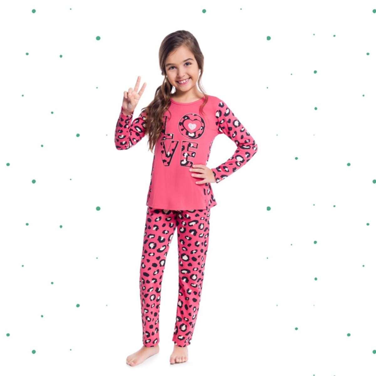 Pijama Menina Longo Kyly em Algodão Brilha no Escuro