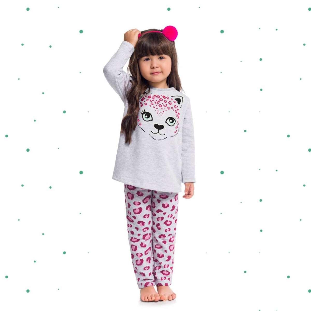 Pijama Menina Longo Kyly em Moletom Peluciado Brilha no Escuro