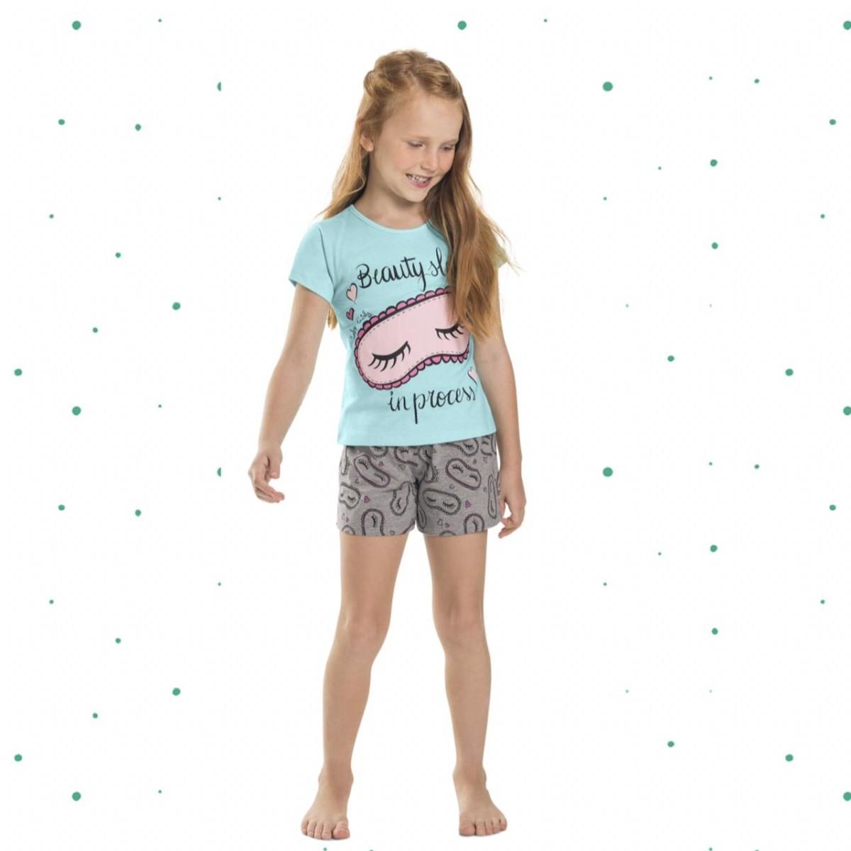 Pijama Menina Quimby Blusa e Short em Algodão