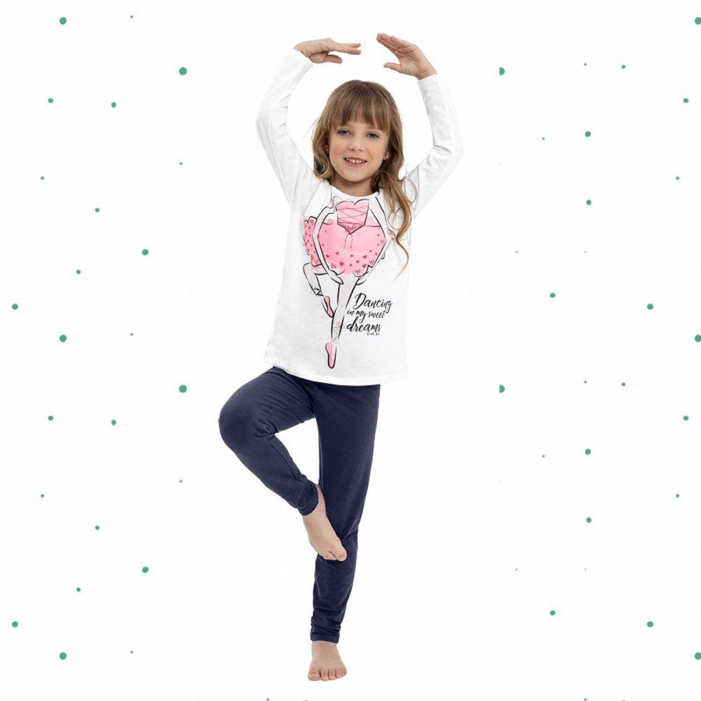 Pijama Menina Quimby Blusa em Algodão e Legging em Cotton