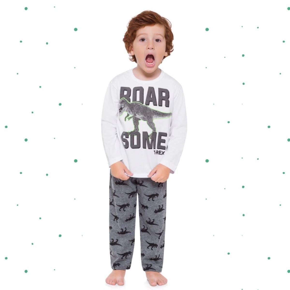 Pijama Menino Kyly Algodão Brilha no Escuro Proteção Anti-Mosquito
