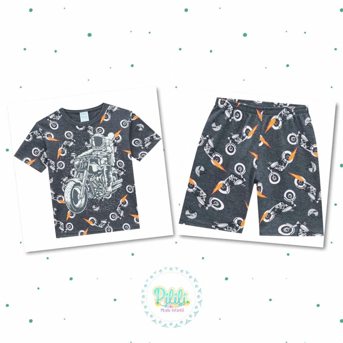Pijama Menino Kyly Camiseta Bermuda Algodão Brilha no Escuro