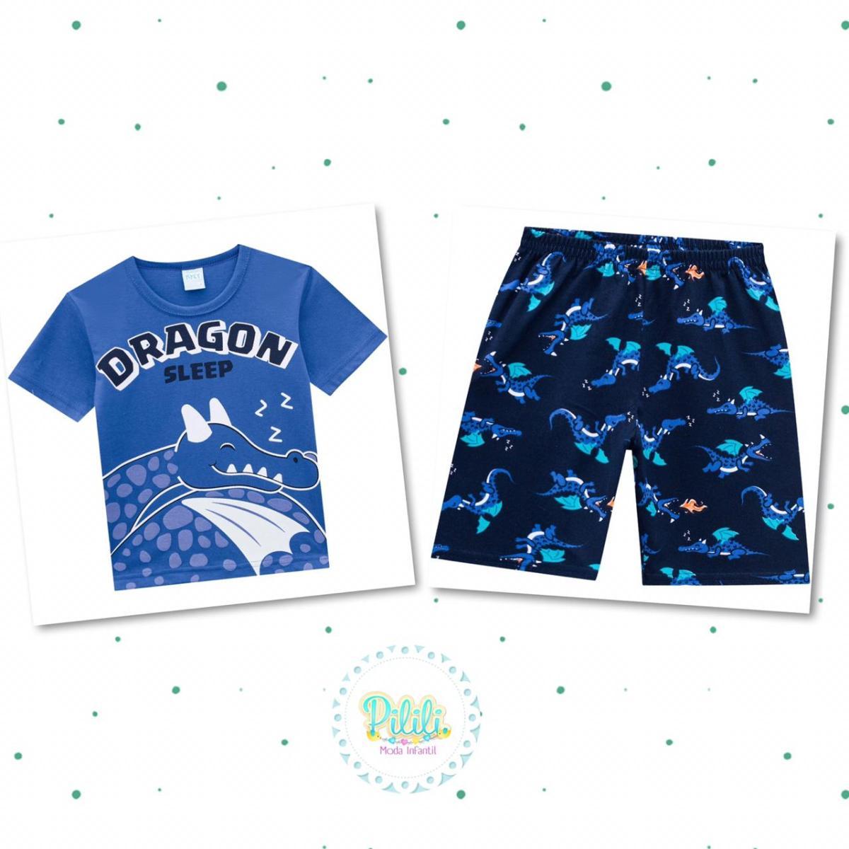 Pijama Menino Kyly Camiseta e Short Algodão Brilha no Escuro