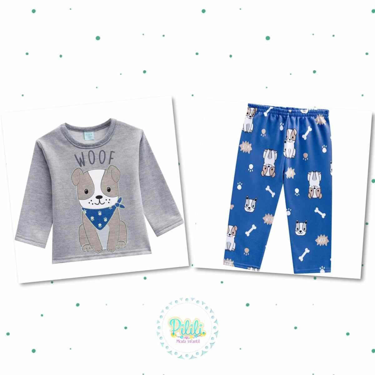 Pijama Menino Kyly em Moletom Peluciado Brilha no Escuro