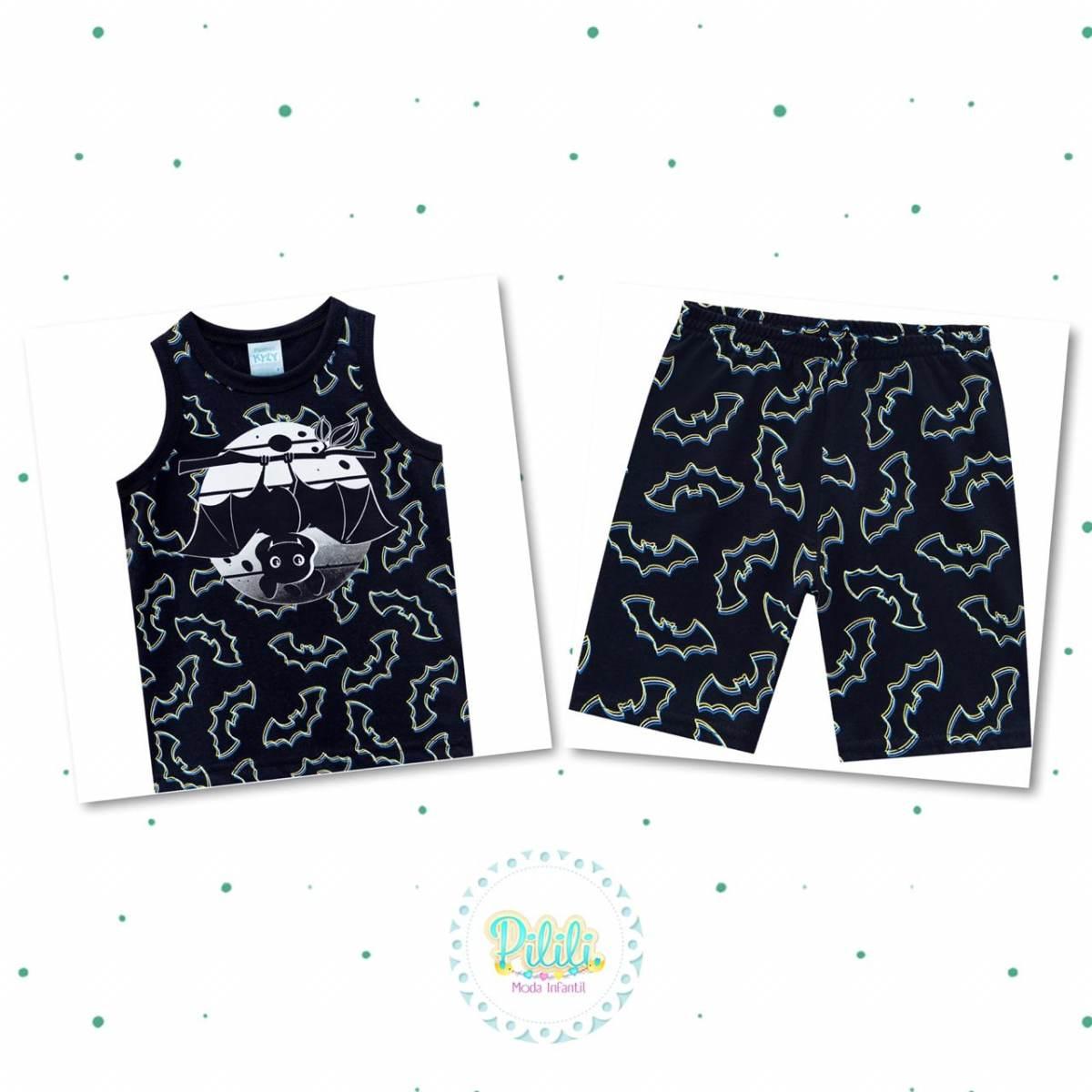 Pijama Menino Kyly Regata Bermuda Algodão Brilha no Escuro