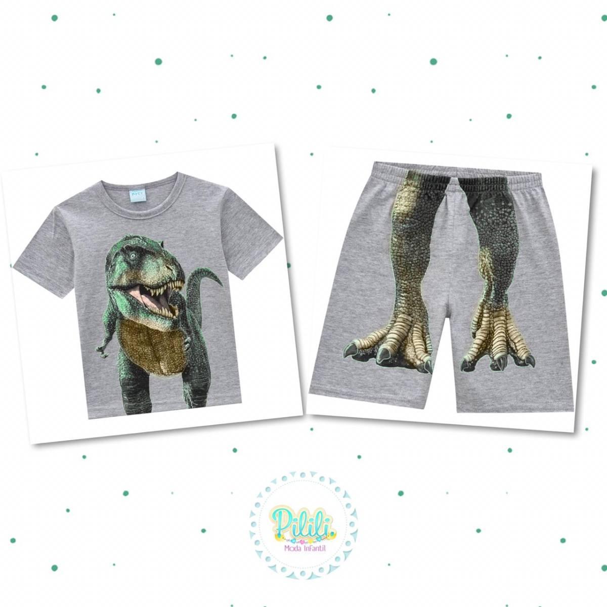 Pijama Menino Kyly Camiseta e Bermuda Algodão Brilha no Escuro