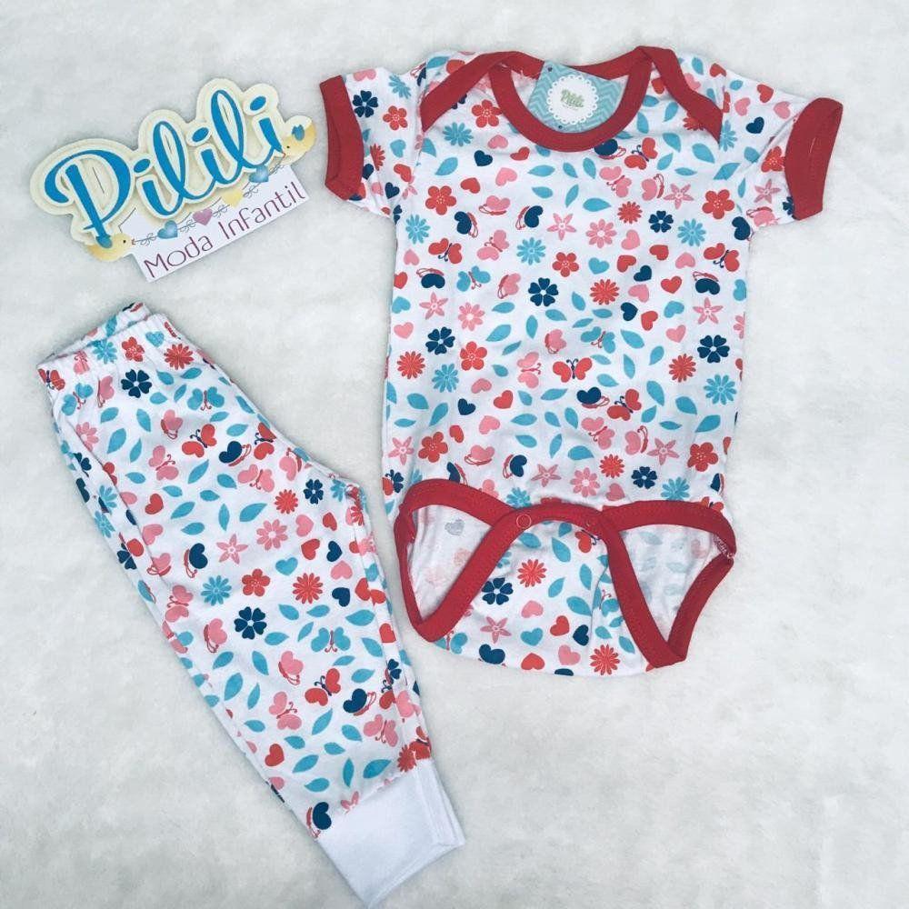 Pijaminha Baby Menina 100% Algodão é composto por body e calça estampado