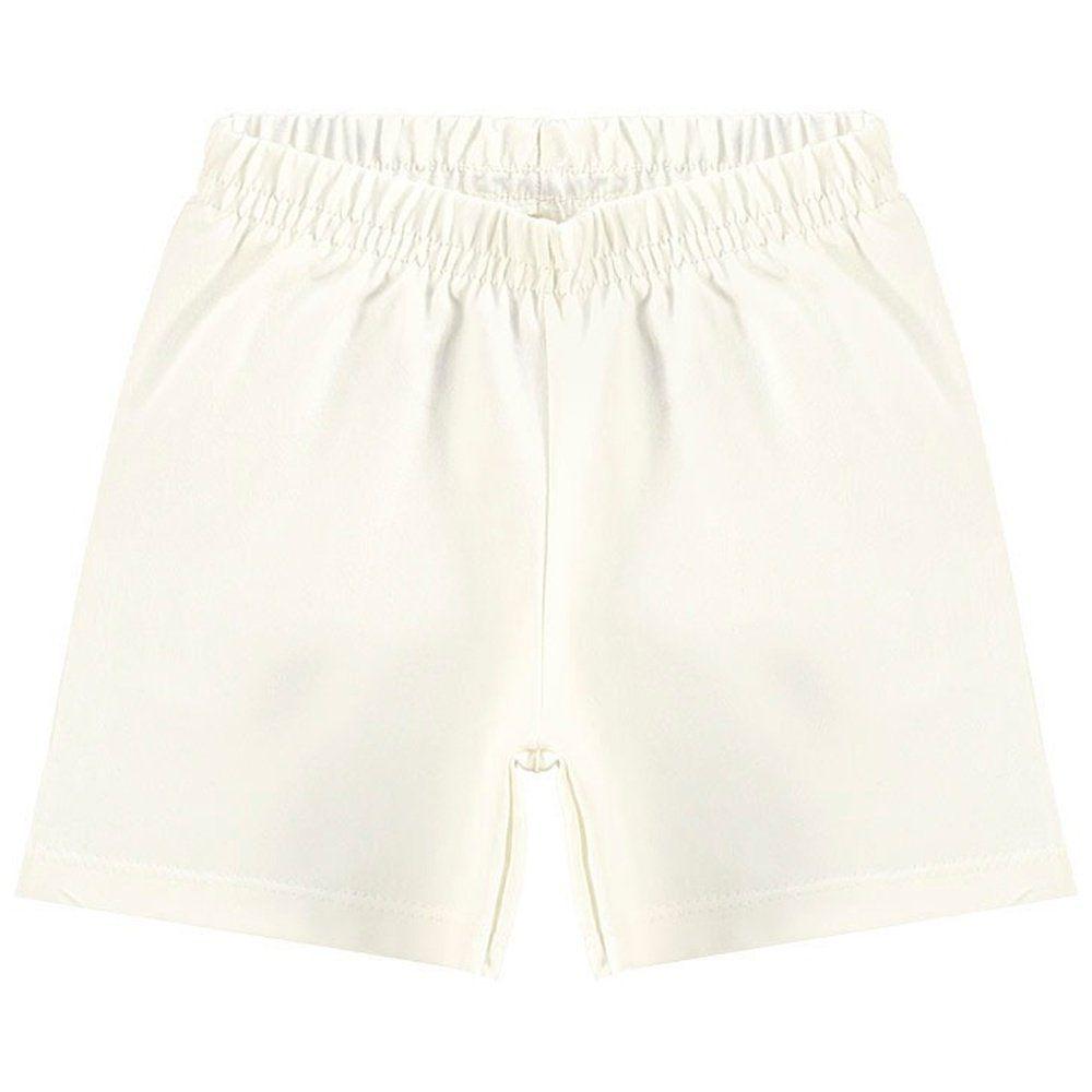 Short Kyly Menina em Cotton na cor Off White