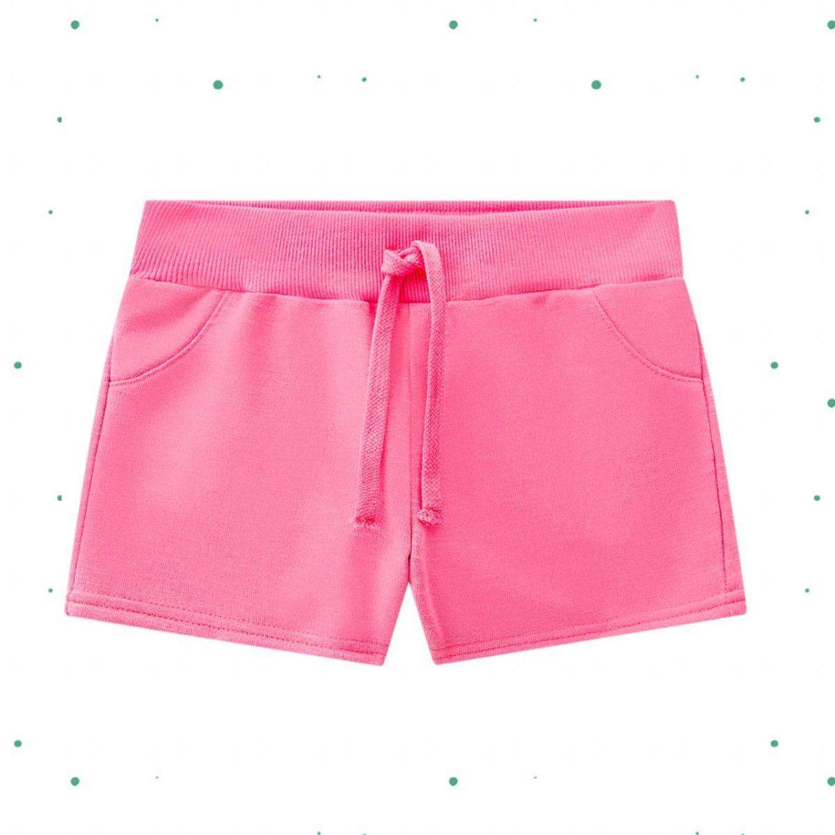 Short Menina Kyly em Moletom sem Felpa cor Pink Neon