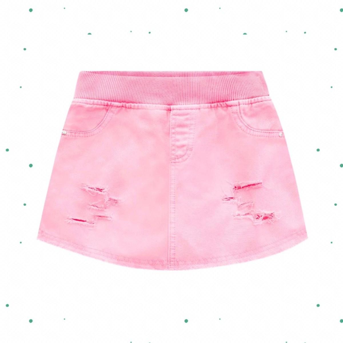 Short Saia Infantil Kukiê em Sarja Rosa Neon